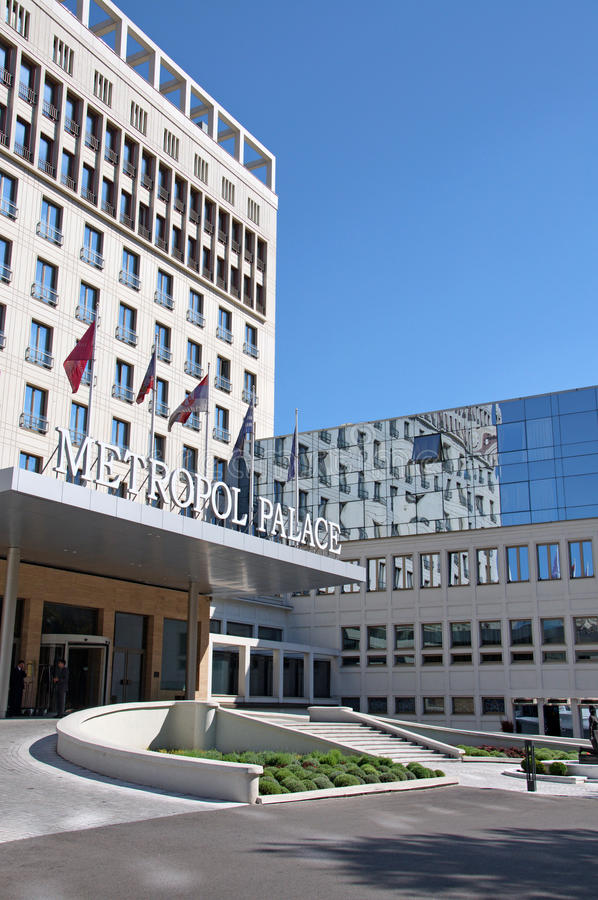 Modern and attractive building of Hotel Metropol Palace in Belgrade royalty free stock image