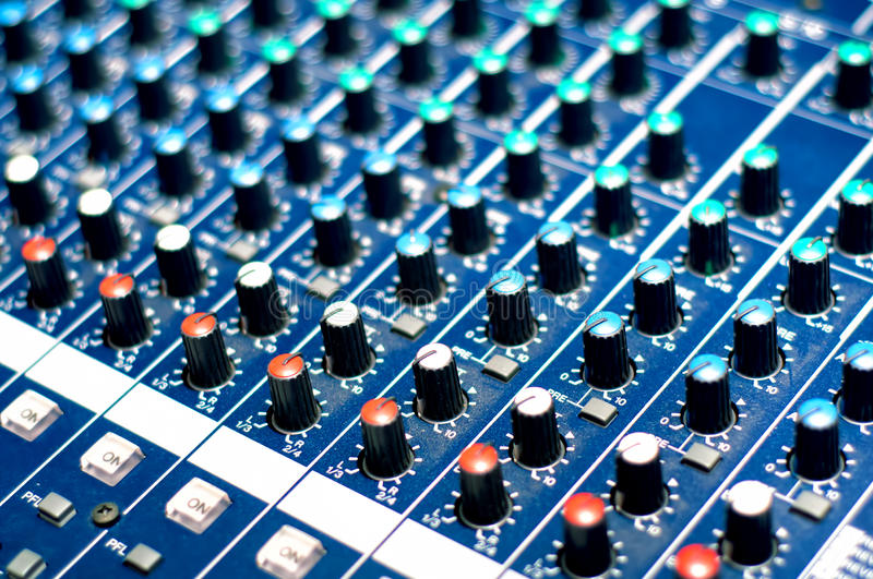 Modern audio music mixer buttons stock photos
