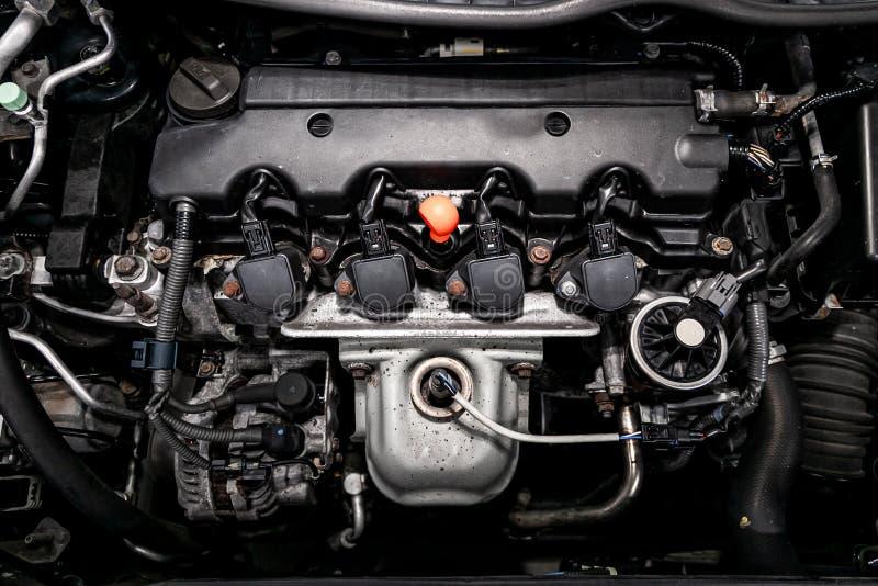 Modern autobinnenland: delen, knopen, knoppen stock afbeelding