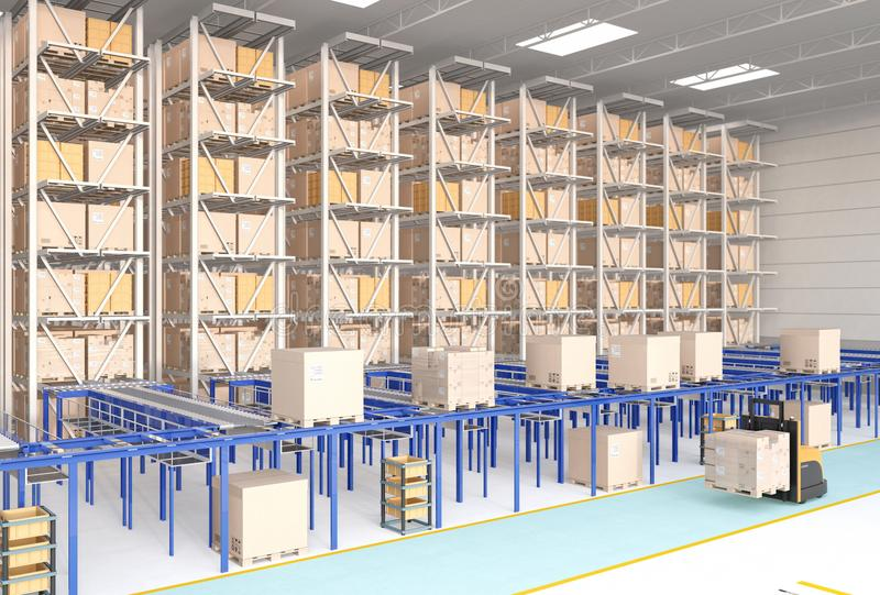 Modern Automated Logistics Center`s interior royalty free stock photography
