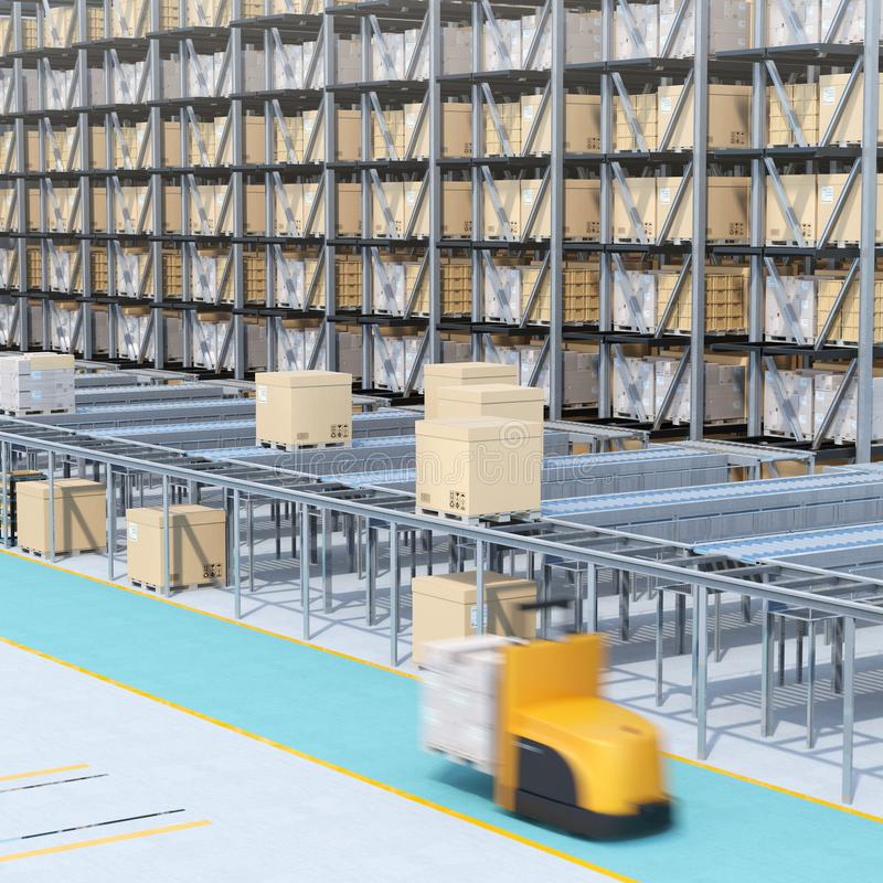 Modern Automated Logistics Center`s interior stock photography