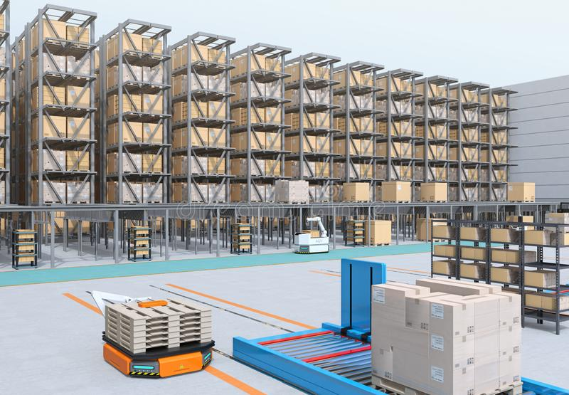 Modern Automated Logistics Center`s interior. AGV and autonomous forklift carrying goods. Concept for automated logistics solution stock photos