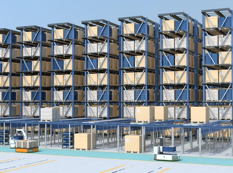 Modern Automated Logistics Center`s interior. AGV and autonomous forklift carrying goods. Concept for automated logistics solution stock images