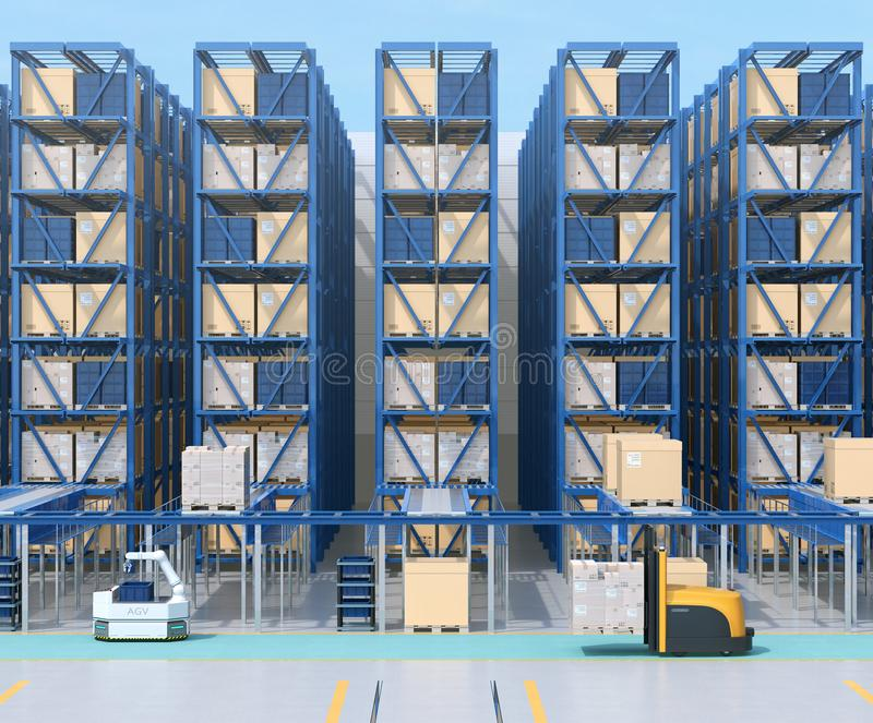 Modern Automated Logistics Center`s interior stock image