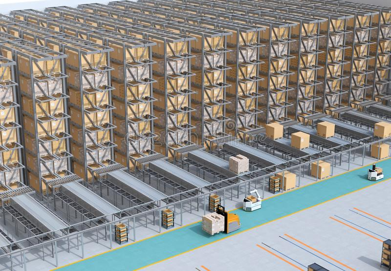 Modern Automated Logistics Center`s interior. AGV and autonomous forklift carrying goods. Concept for automated logistics solution stock photography