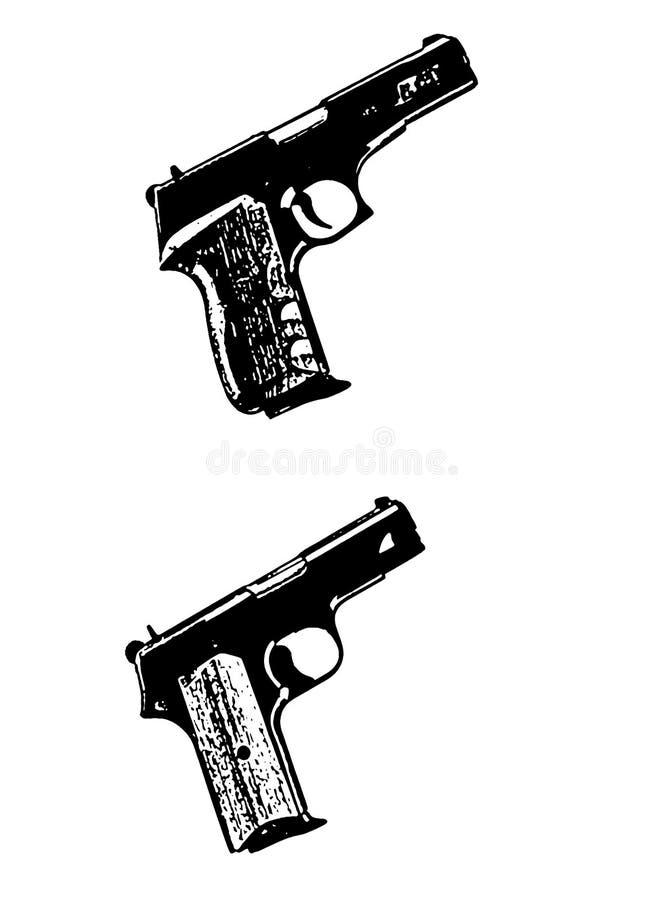 Modern Automatic Hand Gun Pistols, Black On White Royalty Free Stock Image