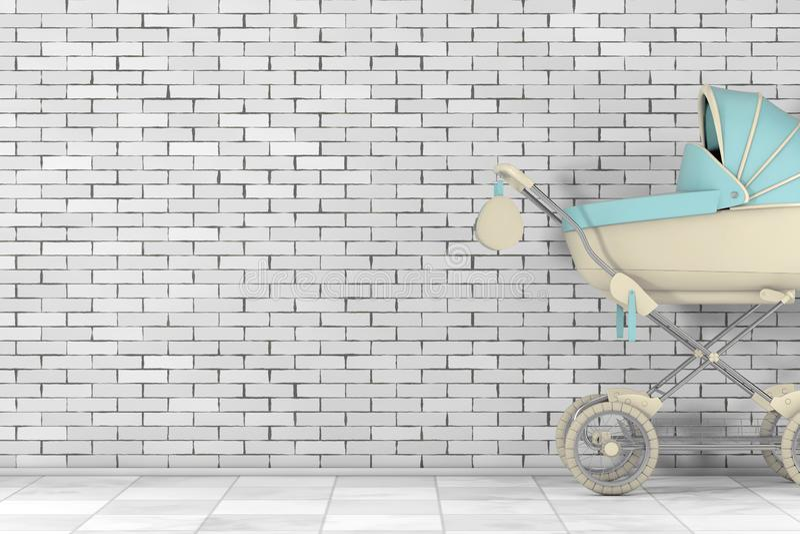 Modern baby med hjärtfelvagn, sittvagn, Pram framf?rande 3d stock illustrationer