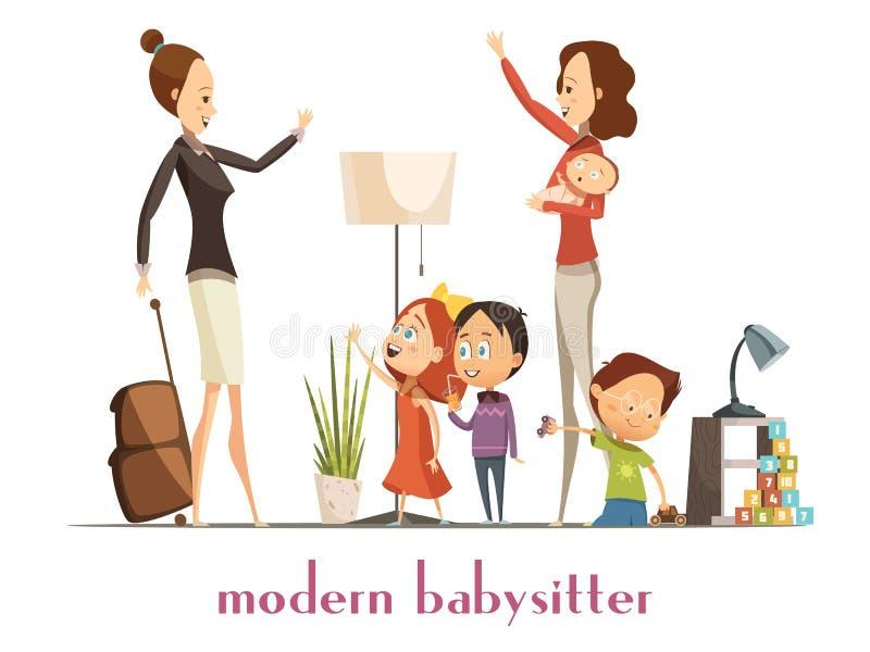 Modern Babysitter Nanny Service Cartoon Illustration vector illustration