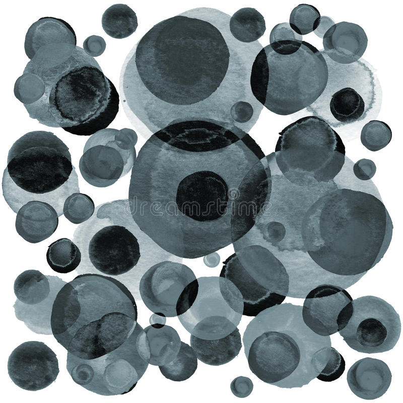 Modern background of gray and black transparent bubbles painted in watercolor. Abstract monochrome pattern with ink circles, dots. Modern background of gray and royalty free illustration
