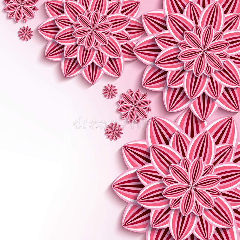 Modern background with pink 3d paper flowers stock vector floral elegant background with pink 3d flowers dahlia cutting paper beautiful stylish background trendy greeting or invitation card for wedding birthday mightylinksfo