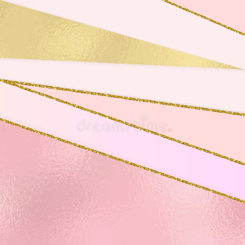 Modern background with pink and gold foil texture geometric shapes and gold glitter lines. Template for holiday designs, card, inv stock illustration