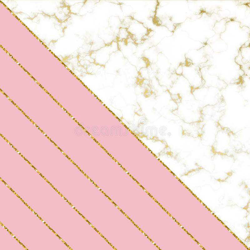 Modern background with white marble texture and pink and gold glitter lines. Template for holiday designs, card, invitation, party. Birthday, wedding, baby vector illustration