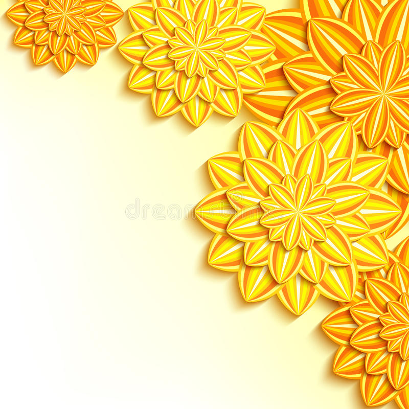 Modern background with yellow, orange 3d paper flowers vector illustration