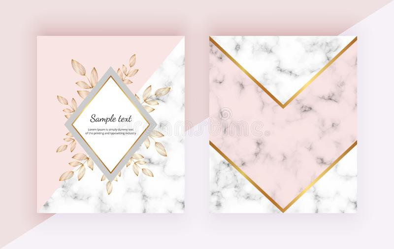 Modern backgrounds with flowers, marble geometric design, golden lines, triangular shapes. Templates for invitation, wedding, plac royalty free illustration
