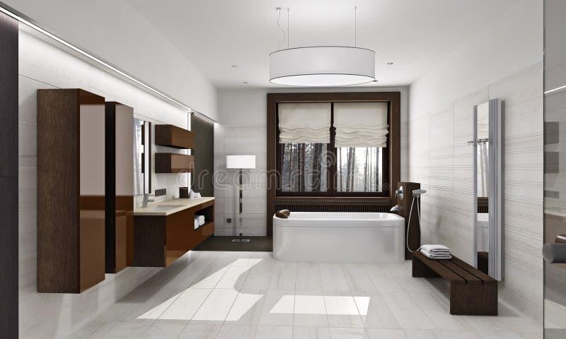 Modern badkamersbinnenland in daglicht stock illustratie