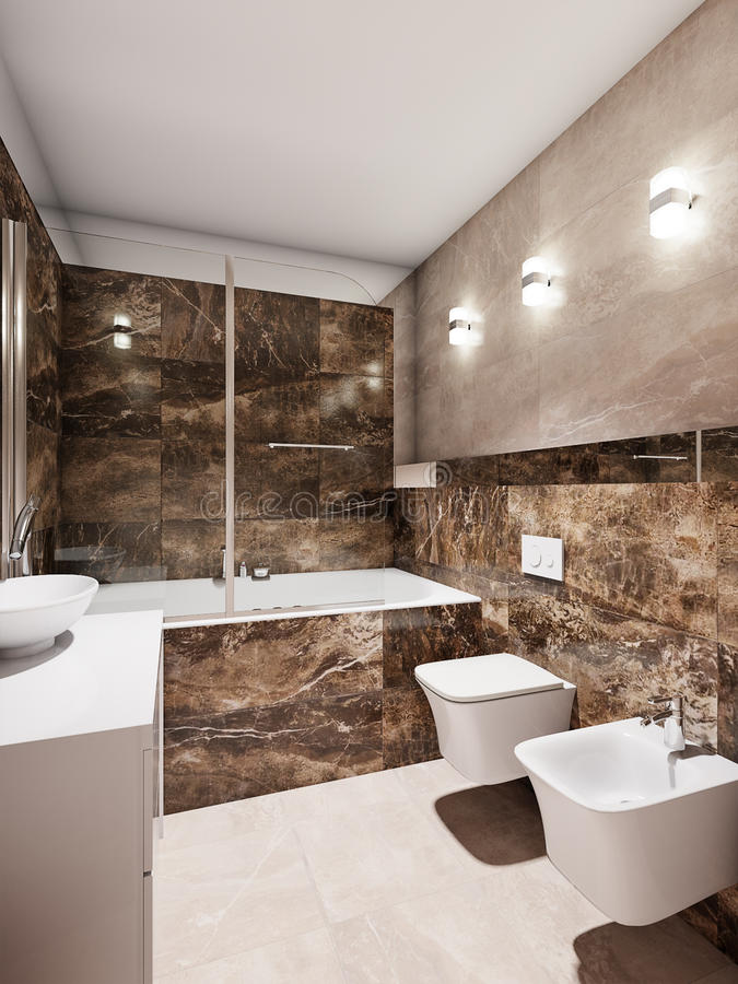 Modern badkamersbinnenland met beige en bruine marmeren tegels stock foto's