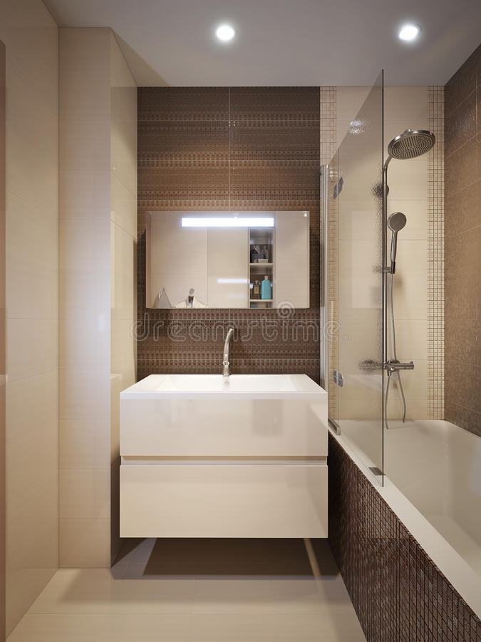 Modern badkamersbinnenland met bruine en beige tegels for Bruine tegels