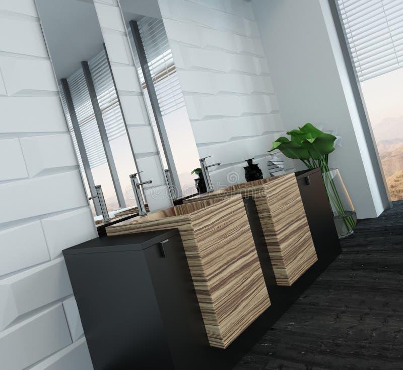 Modern badkamersbinnenland met houten meubilair stock afbeeldingen