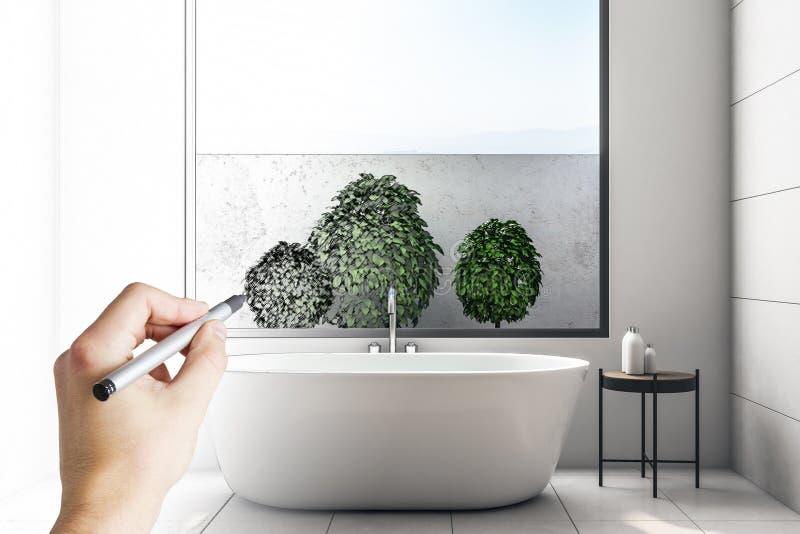 Modern badkamersbinnenland met installaties royalty-vrije illustratie