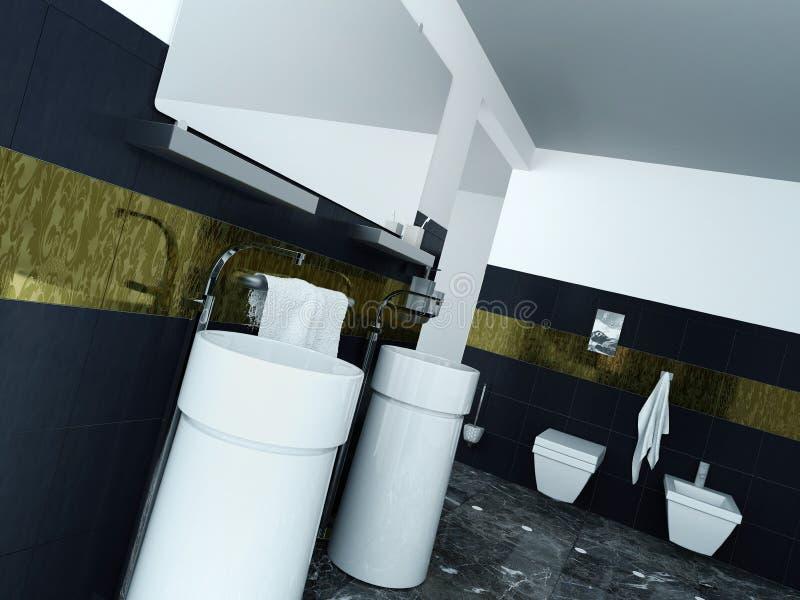 Modern Badkamersbinnenland met wasbassin en tegels stock foto