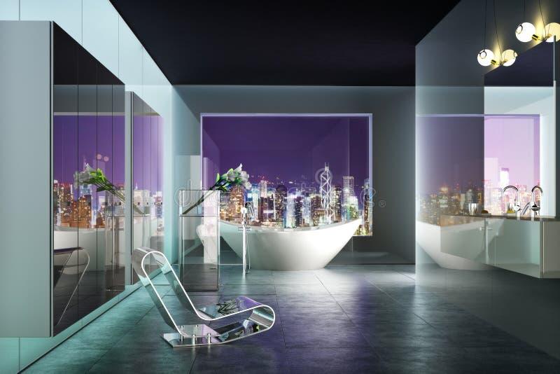 Modern badruminre för modern highrise med sikten av staden stock illustrationer