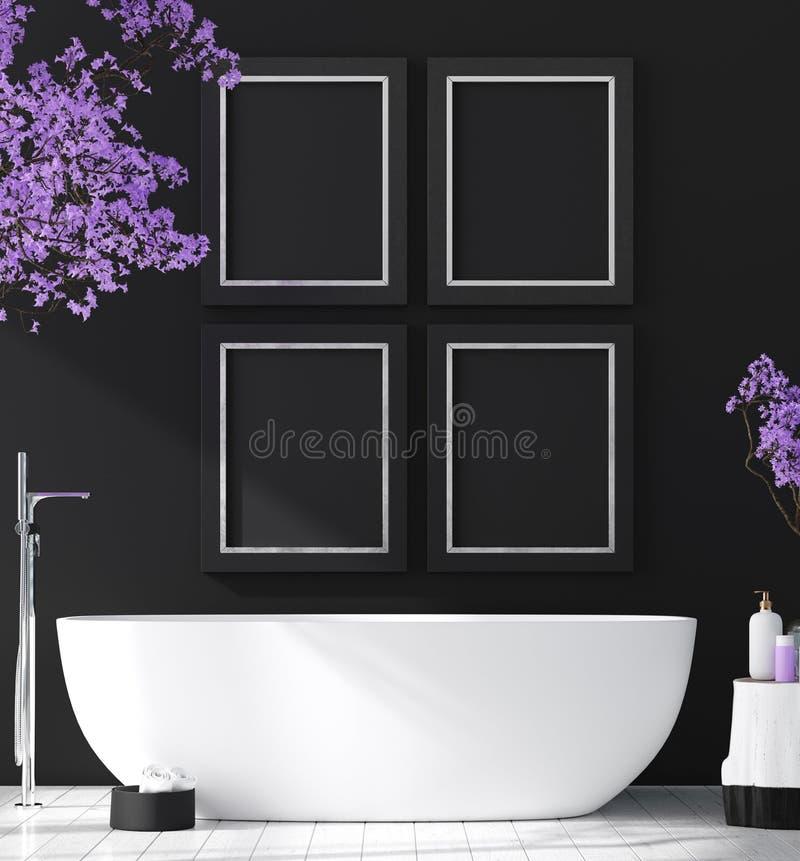 Modern badruminre med blomningträdet, affischväggåtlöje upp arkivbild