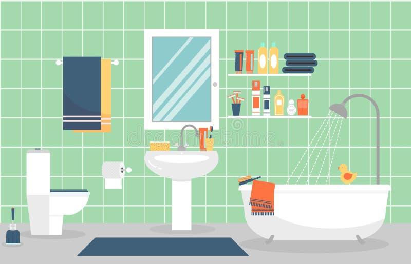 Modern badruminre med möblemang i lägenhet royaltyfri illustrationer