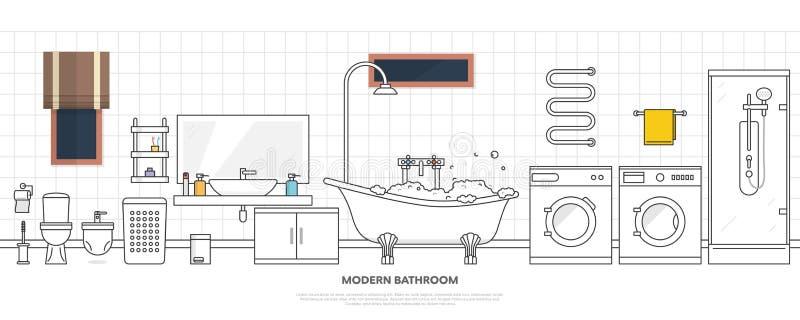 Modern badruminre med möblemang i linjen stil Planlägg det moderna badrummet, tandkräm och tandborsten, duschen och badet som tvä royaltyfri illustrationer