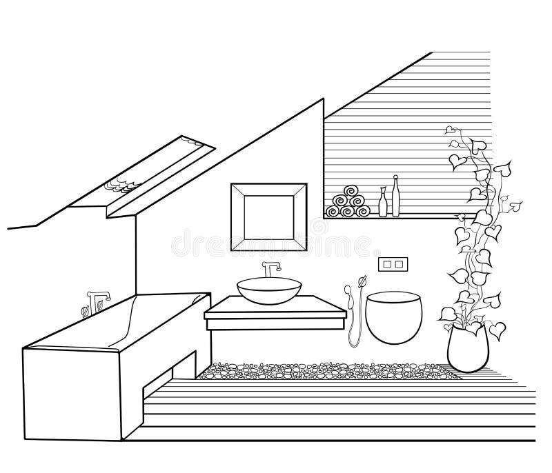 Modern badrumminimalismeco stock illustrationer