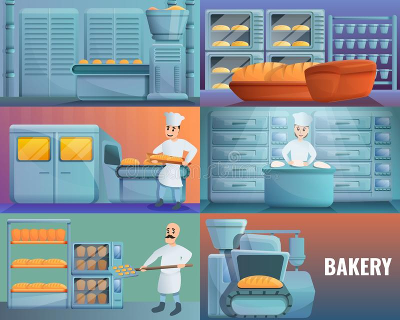 Modern bakery factory banner set, cartoon style stock illustration
