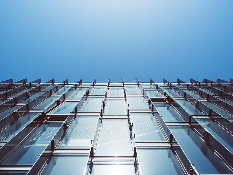 Modern bakgrund för abstrakt begrepp för arkitekturglasväggbyggnad arkivfoton