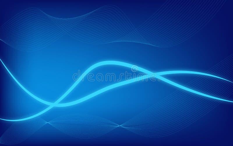 Modern bakgrund för abstrakt glöd med blått tema vektor illustrationer