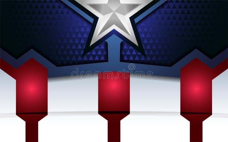 Modern bakgrund för patriot med överlappningslagret stock illustrationer