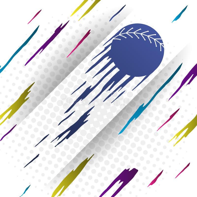 Modern bakgrund för stilbaseballvektor med den blåa konturn av baseballbollen arkivfoton
