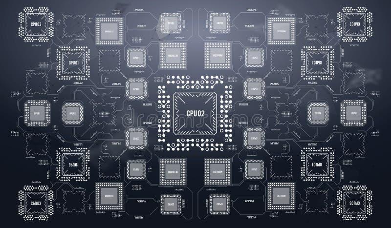 Modern bakgrund med den futuristiska användargränssnittet Maskinvaruteknologi för elektronisk dator Digital chip för moderkort royaltyfri illustrationer