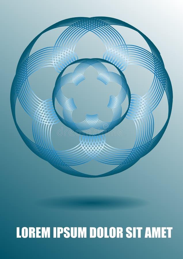 Modern bakgrund med mallen för för för cirkelabstrakt begreppform, bokomslag eller broschyrdesign, blå design för oljor med 3d stock illustrationer
