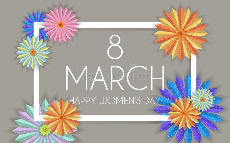 8 modern bakgrundsdesign för marsch med blommor Kort för hälsning för lycklig dag för kvinna` s stilfullt med körsbärsröda blomni royaltyfri illustrationer