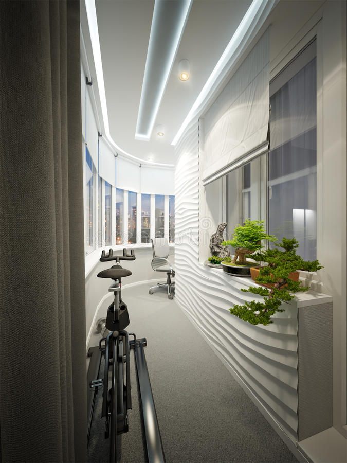 Modern Balcony Interior Design With Workplace And Sports Area Stock ...