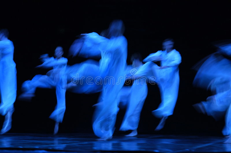 Modern ballet. The actors of theatre of modern dance in an effective jump