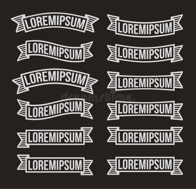 Modern banduppsättning för tappning, retro logodesignbeståndsdelar Vit stiliserade krita drog baner på svart bakgrund vektor illustrationer
