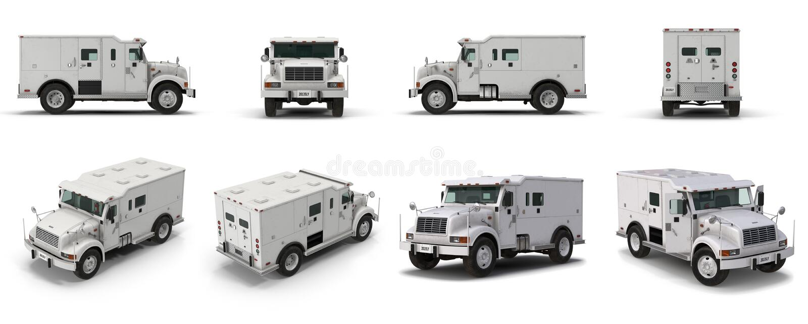 Modern Bank Armored Car renders set from different angles on a white. 3D illustration vector illustration