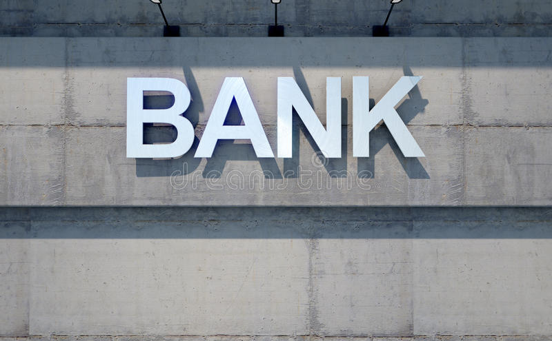 Modern Bank Building Signage. A 3D render of laser cut signage above the entrance to a modern generic bank building composed of exposed concrete in the day time royalty free illustration