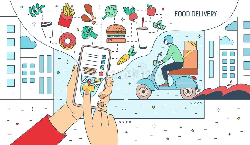 Modern banner with hands holding smartphone with food delivery service application or website on screen, meals, products. And courier boy riding scooter vector illustration