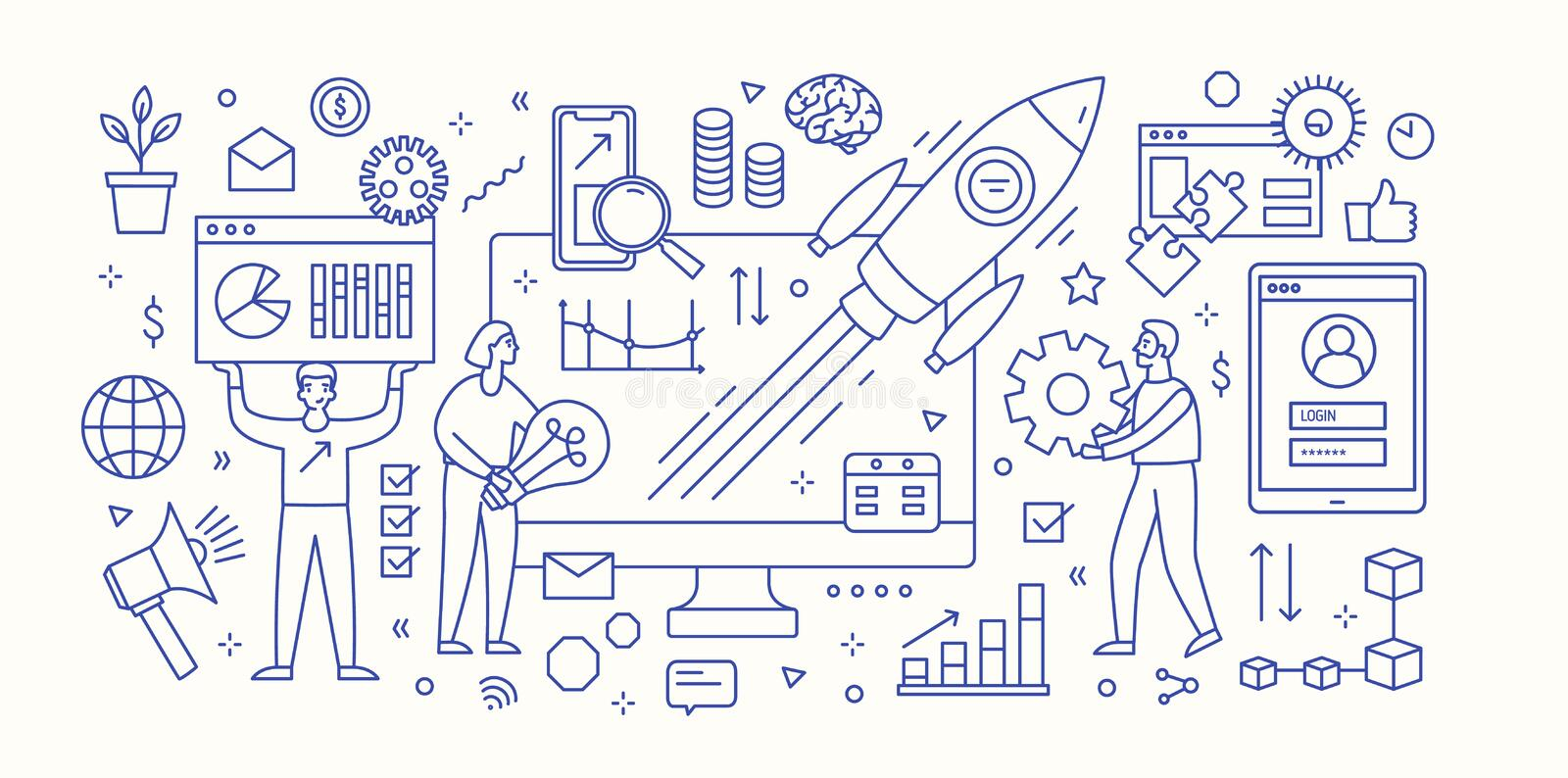 Modern banner template with computer, diagrams, charts, flying spacecraft and group of people working under innovative. Startup business project launch stock illustration