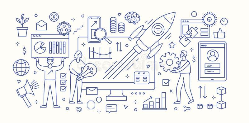 Modern bannermalplaatje met computer, diagrammen, grafieken, vliegende ruimtevaartuig en groep die mensen onder innovatief werken stock illustratie