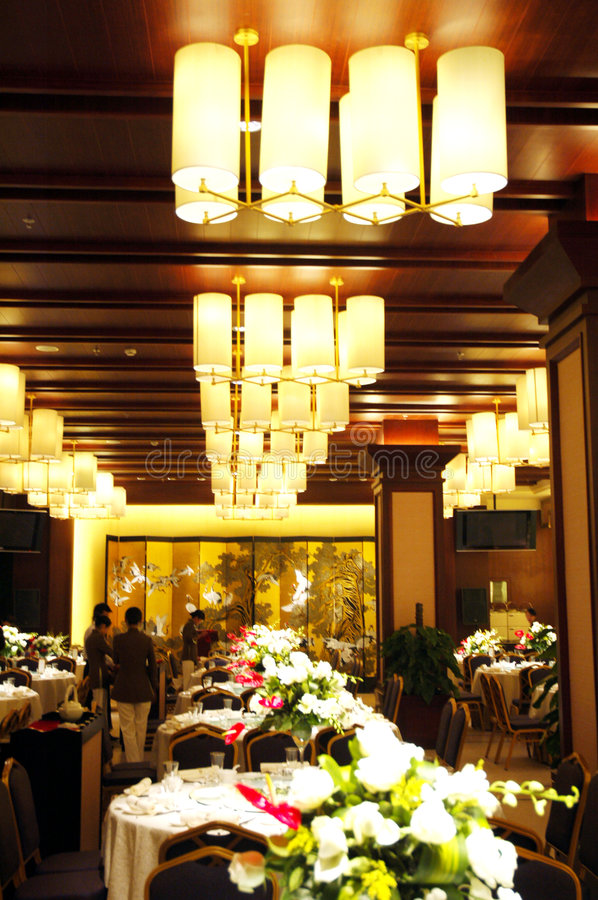 Modern Banquet Room. Contemporary banquet hall decorated for a party stock photos
