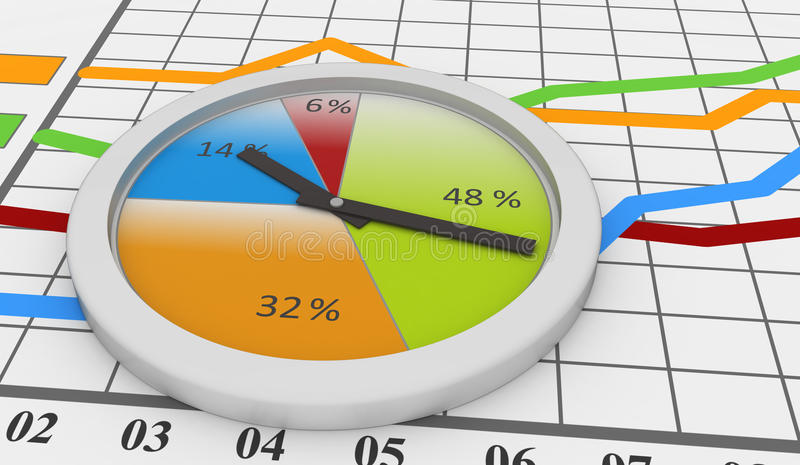 Modern bar and pie chart. With grid and white clock vector illustration