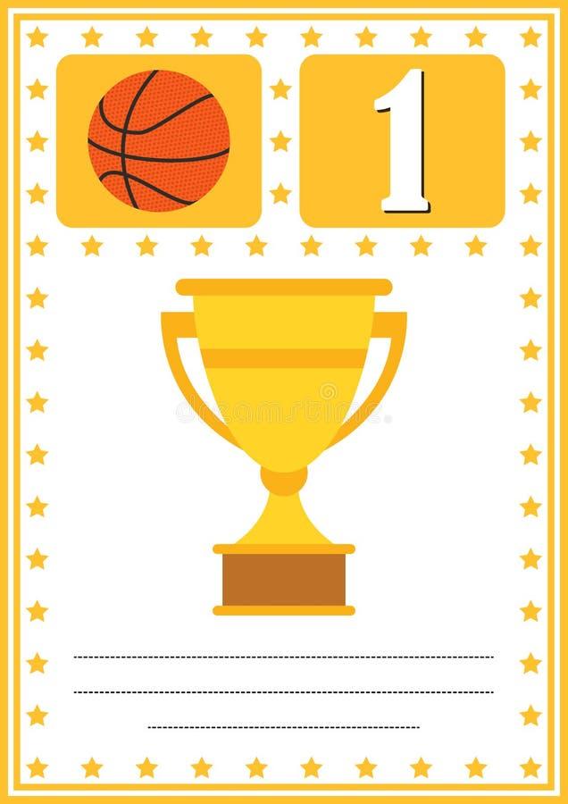 Modern basketbalcertificaat met plaats voor uw inhoud, voor jonge geitjes eerste plaats royalty-vrije illustratie