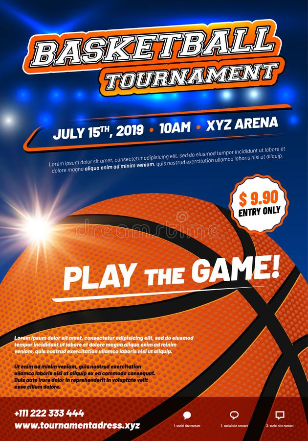 Modern basketball poster template with sample text stock illustration