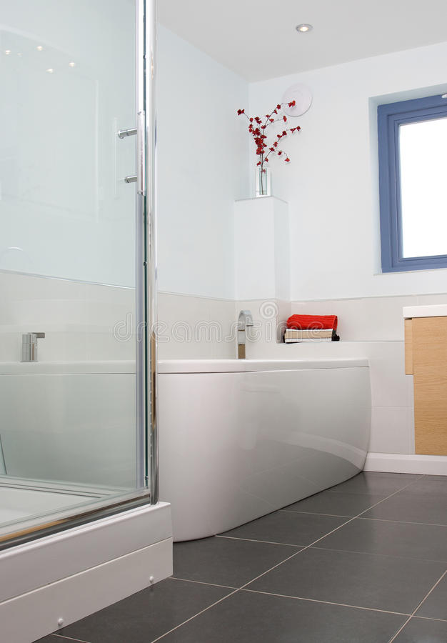 Modern bathroom. A contemporary designer bathroom in a new property development stock photo